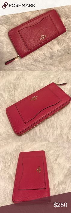 "NWOT Coach leather accordion zip wallet Color: Pink ruby/gold. Zip closure. EXTERIOR: 1 outside open pocket. INTERIOR: 2 full-length bill compartments, 1 zip coin pocket, 12 credit card & multifunction pockets. 7 3/4"" L x 4"" H. I can fit my iPhone 7 Plus in it.   plsvegqw Coach Bags Wallets"