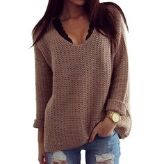 Women's Hollow Knit V-Neck Blouse Pullover Loose Tops Sweater