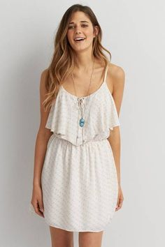 AEO Flounce Front Tank Dress by AEO | A fresh, flowy dress made for warm days.  Shop the AEO Flounce Front Tank Dress and check out more at AE.com.