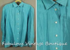REAL CLOTHES SALON Z Designer Aqua Blue100% Silk Button Down Top Blouse Shirt 16 | eBay