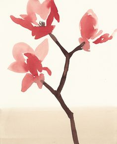 Stacey Vetter, Red Magnolia, Watercolor on Paper
