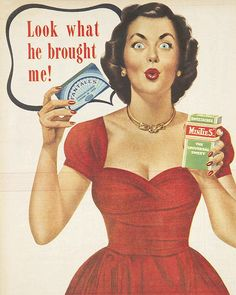 cute look.other than the almost demonic expression in her eyes, haha - 'Sweetacres' Fantales and Minties advertisement 1950s Advertising, 1950s Ads, Old Advertisements, Retro Ads, Vintage Ads, Vintage Images, Vintage Posters, Vintage Pictures, Vintage Paper