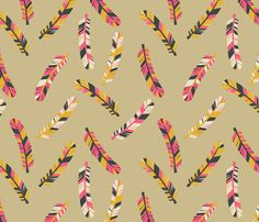 Feathers Scattered on Tan by Papersparrow on Spoonflower