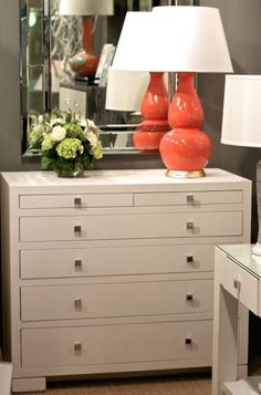 Frances 6-Drawer Chest from Bungalow 5 is finished in lacquered grasscloth.