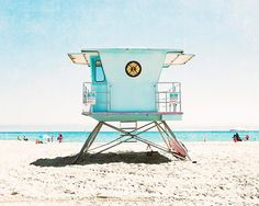 Bright aqua lifeguard tower at Santa Cruz Beach -This photo is printed by a professional lab using high quality inks, and archival paper with a lustre finish that will last a lifetime