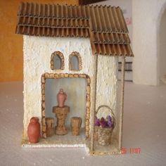 GRUPO DE CASAS RECICLADAS | ARTESANA.... LA WEB. Diorama, Cribs, Nativity, Fondant, Gingerbread, Diy And Crafts, House Design, Portal, Bird