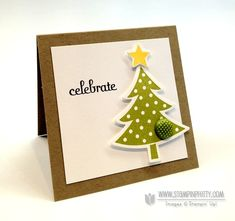 Cute Christmas card by Mary Fish, featuring the Stampin' Up! Holiday Mini Framelits. ♥ the simplicity and clean lines!