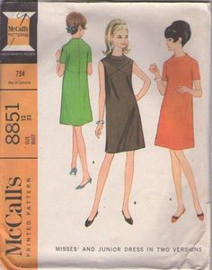 McCall's 8851 Vintage 60's Sewing Pattern SUPERB Mod Built Up High Rise Funnel Cowl Neck, X Seams Cocktail Party Dress