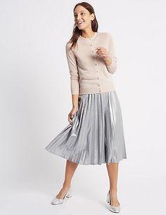 Pleated Metallic A-Line Midi Skirt | M&S