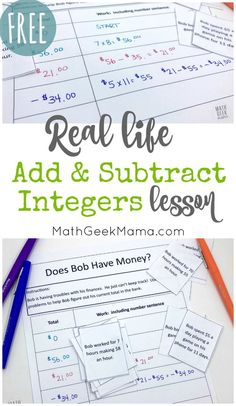 Introduce your kids to integer operations with this fun real life math lesson. In this lesson, kids will add & subtract integers to determine how much money Bob has in the bank and find his ending balance. Adding And Subtracting Integers, Integers Worksheet, 7th Grade Math Problems, Word Problems, Real Life Math, Math Word Walls, Math Words, Math Projects, Teaching Math