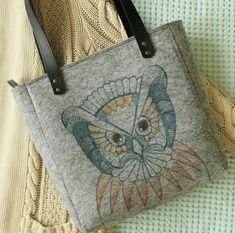 Handmade Grey Felt Bags, Owl Illustration, Tote Bags, Shopper Bags, Felt Shopper, Felt Shoulder Bags, Carry All Bags, Zipper Bag, Gift