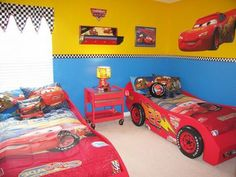 Cool children car beds for toddler boy bedroom design ideas: fun twin race car bed theme for little boys bedrooms