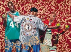 Kehinde Wiley, Three Graces, 2005, oil and enamel on canvas, 182.9 x 423.8 cm,  Hort Family Collection © Kehinde Wiley - courtesy Roberts & Tilton, Los Angeles, California