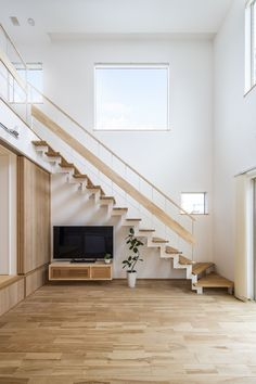 Stairs In Living Room, House Stairs, 30x40 House Plans, Under Stairs, Diy Home Decor Projects, Japanese House, Staircase Design, Ideal Home, Flooring