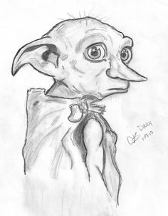 It was fun to draw this. I used and hb pencil. and an eraser Dobby the house elf It was fun to draw this. I used and hb pencil. and an eraser Dobby the house elf Cool Art Drawings, Pencil Art Drawings, Art Drawings Sketches, Disney Drawings, Cartoon Drawings, Easy Drawings, Drawing Lips, Cartoon Illustrations, Charcoal Drawings