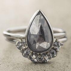 3.2 Carat Charcoal Grey Diamond Engagement Ring, 14k White Gold, Jane Setting