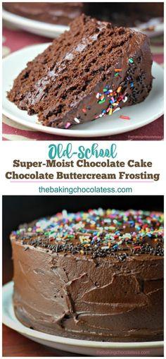 Super-Moist Chocolate Cake with Chocolate Buttercream Frosting via @https://www.pinterest.com/BaknChocolaTess/