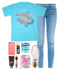 """ugh school starts tomorrow "" by thatprepsterlibby ❤ liked on Polyvore featuring Frame Denim, Converse, Lilly Pulitzer, Maybelline, tarte, Lab, Emi-Jay, women's clothing, women's fashion and women"