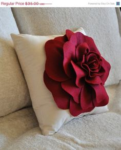Rose Applique Ruby Red Rose on Cream Pillow 14x14 #bedding #christmas_decor #cranberry