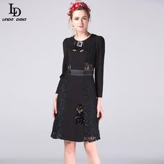 Lace Patchwork Sexy Black Dress Women's Long Sleeve Animal Cat Sequined Slim Dress Work Wear Like and share this pure awesomeness! www.sukclothes.co... #shop #beauty #Woman's fashion #Products