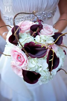 Calla Lilly and Roses Bouquet - purple and pink wedding idea-----I think the branches could be left out...otherwise, I really like this.