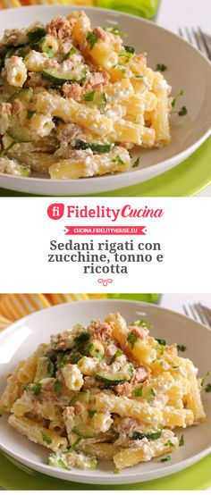 Sedani rigati con zucchine, tonno e ricotta – Meat Foods Ideas Chef Recipes, Pasta Recipes, Italian Recipes, Cooking Recipes, Healthy Recipes, Cena Light, Ricotta Pasta, Italian Pasta, Light Recipes