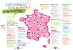 Carte de France des bonbons et gourmandises
