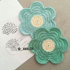 Crochet Flower Coaster Pattern Crochet Pattern by ProchetByEAS Crochet Coaster Pattern, Crochet Motif Patterns, Crochet Mandala, Crochet Diagram, Crochet Art, Crochet Squares, Crochet Home, Love Crochet, Crochet Designs