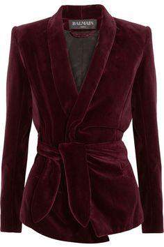 Balmain | Belted velvet blazer | http://NET-A-PORTER.COM