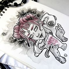 New illustration! Goth girl by 🖤💜🖤💜 Watercolor Artwork, Ink Art, Goth Girls, Illustration, Instagram, Gothic Girls, Illustrations, Ink