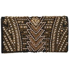 Rare Olivier Rousteing for Balmain Black Embroidered Leather Clutch (23.055 DKK) ❤ liked on Polyvore featuring bags, handbags, clutches, purses, leather evening bags, man bag, leather hand bags, real leather purses and leather clutches