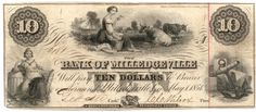 Obsolete bank note, 1854, Bank of Milledgeville, Milledgeville, Georgia