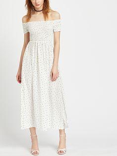 Shop White Polka Dot Off The Shoulder Slit Side Dress online. SheIn offers White Polka Dot Off The Shoulder Slit Side Dress & more to fit your fashionable needs.