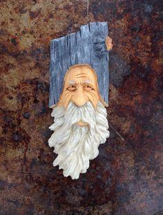Wood Spirit Ooak Hobbit Wise Old Man Oiriginal Carving Gnome Scott Longpre