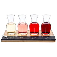 Cathy's Concepts Personalized Bamboo & Slate Wine Tasting Flight-