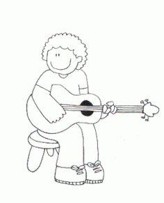 dibujo guitarra mujer  Dibujo Guitarras  Pinterest