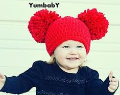 CIJ SALE 12 to 24m Baby Pom Pom Hat Toddler Pom Pom by BabaMoon