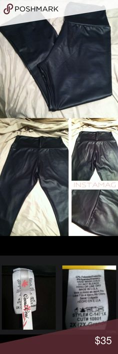 """NWOT - Plus Size Faux Leather Black Leggings These are brand new except to try on. SUPER DUPER stretchy and a slinky feel. They are high-waisted so they cover everything! I wear a size 16-18 in jeans, but because of the stretch and based on your build, could possibly fit up to size 20.  Check measurements below which are just lying flat, not stretched.  Nothing wrong with them, just too """"Harper Valley PTA"""" for my age and my little town ;)  Waist top of band-16"""" (my waist is 44"""") Waist bottom…"""