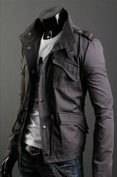Men's Military Style Jacket. It can work for the ladies too.