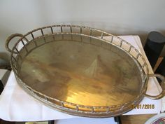 Vintage Large Brass Serving Tray, Made in India, Home Decor, Dresser Tray, Display Tray, Vanity Tray by chulapoe on Etsy