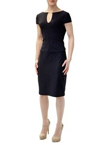 This dress by Joseph Ribkoff is elegant and striking with its textured striped fabric and surplice neckline. Indulge Boutique
