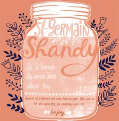 Backyard Cocktail Party Recipes: St-Germain Shandy by Oh So Beautiful Paper, Illustration by Dinara Mirtalipova