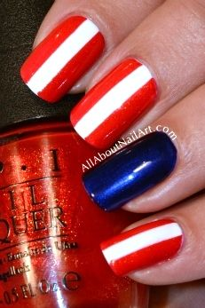 Nail art designs www.finditforweddings.com Red white and blue Nails