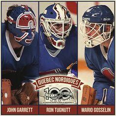 "The goalkeepers ""Quebec Nordiques"" of the John Garrett, Ron Tugnutt, Mario Gosselin Hockey Goalie, Hockey Teams, Ice Hockey, Quebec Nordiques, Goalie Mask, Vancouver Canucks, My Themes, Face Off, Goalkeeper"