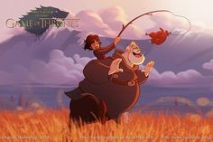 Game Of Thrones Gets The Disney Treatment & It's A Whole New World #refinery29  http://www.refinery29.com/2015/05/87064/game-of-thrones-disney#slide-3  Bran and Hodor are on a magical quest.