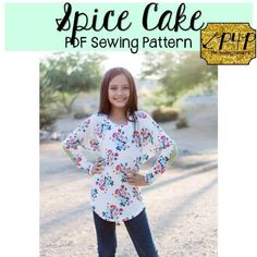 Spice Cake- pdf sewing pattern by p4p patterns for pirates- youth, girls, babies, teens, tweens, juniors, dolman, loose, slouchy, trendy, knit top, tunic