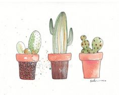 "3 Cactus Plants Watercolor Zentangle Art Drawing 8x10"" Print (unframed) mixed media"