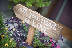 wood entrance sign for wedding
