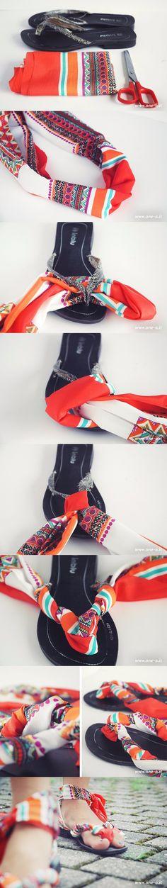 one-o.it  - Sandalias DIY de tela - DIY Easy Flips Flops