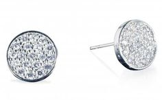 Delicia's Gifts Samantha Cz Pave Silver Disc Stud Earrings